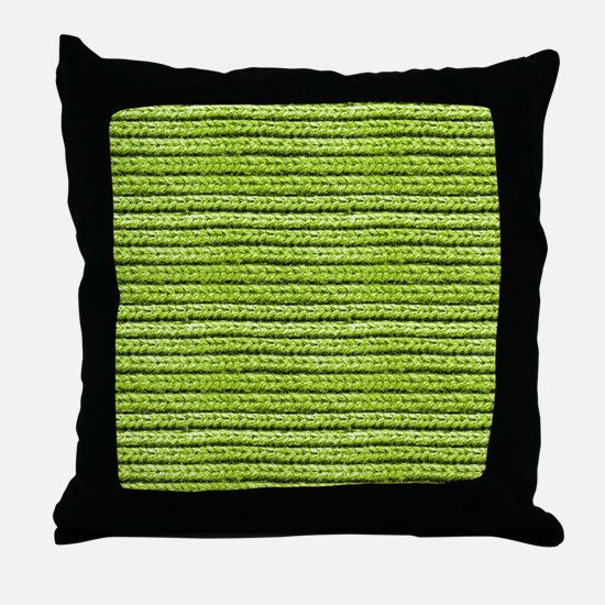 Bright Chartreuse Apple Green Sweater Throw Pillow