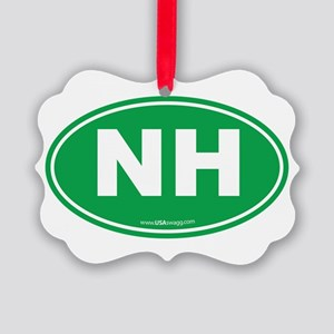 New Hampshire NH Euro Oval Picture Ornament