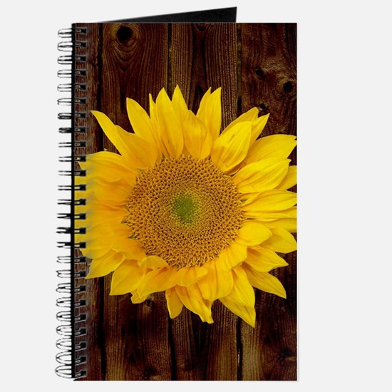 Yellow Sunflower Brown Fence Journal