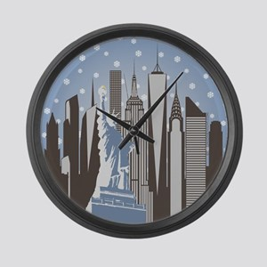 Nyc Snowflakes Large Wall Clock
