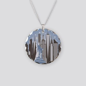 Nyc Snowflakes Necklace Circle Charm