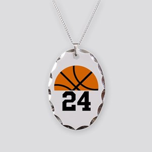 Basketball Player Number Necklace Oval Charm