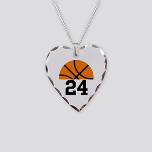 Basketball Player Number Necklace Heart Charm