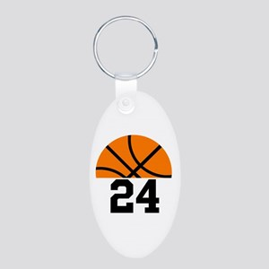 Basketball Player Number Aluminum Oval Keychain