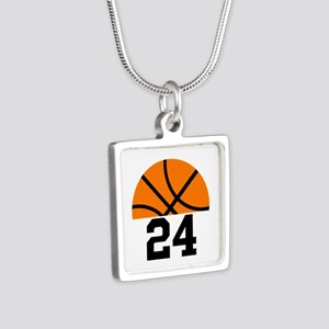 Basketball Player Number Silver Square Necklace