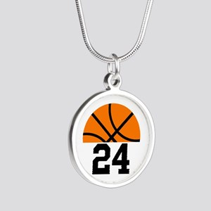 Basketball Player Number Silver Round Necklace