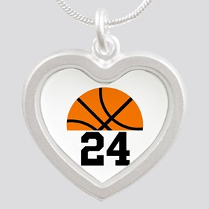 Basketball Player Number Silver Heart Necklace