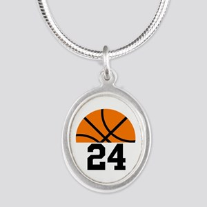 Basketball Player Number Silver Oval Necklace