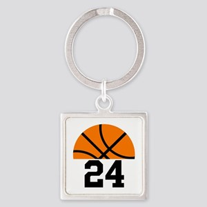 Basketball Player Number Square Keychain