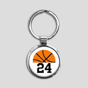Basketball Player Number Round Keychain