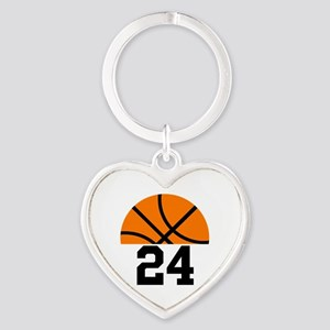 Basketball Player Number Heart Keychain