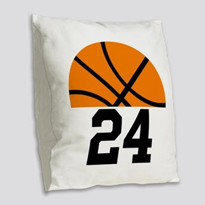 Basketball Player Number Burlap Throw Pillow