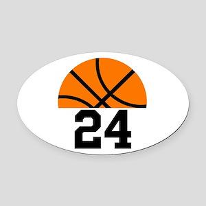 Basketball Player Number Oval Car Magnet