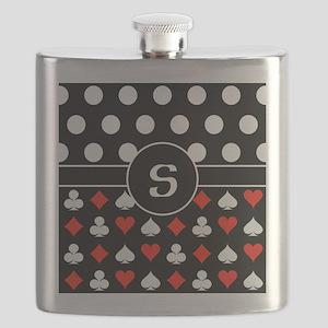 Polka Poker Custom Monogram Flask