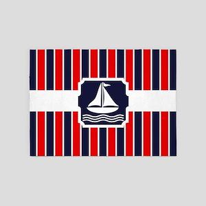 Nautical Sailboat Stripes 5'x7'Area Rug