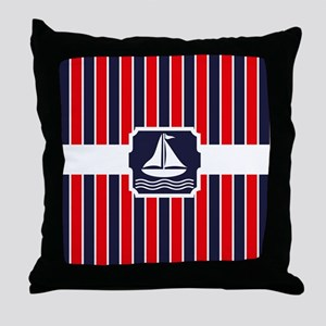 Nautical Sailboat Stripes Throw Pillow