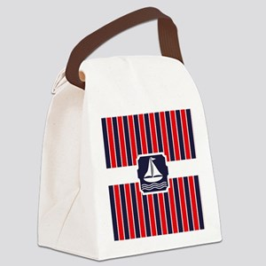 Nautical Sailboat Stripes Canvas Lunch Bag