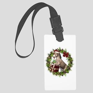 Christmas Donkey Wreath Large Luggage Tag