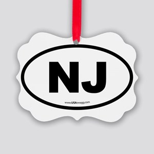New Jersey NJ Euro Oval Picture Ornament
