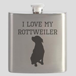I Love My Rottweiler Flask