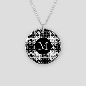 Greek Key Design Monogram Necklace Circle Charm