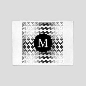 Greek Key Design Monogram 5'x7'Area Rug