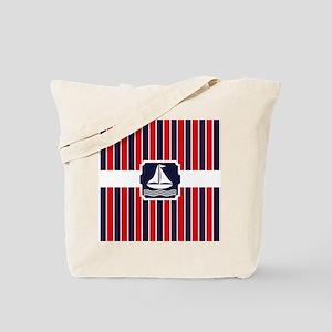 Nautical Sailboat Red | Blue Stripes Tote Bag