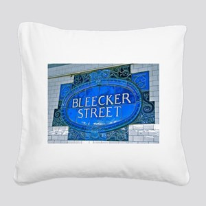 Bleeker Street : NYC Subway Square Canvas Pillow
