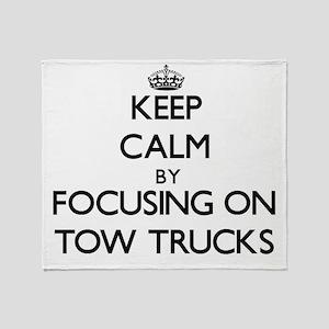 Keep Calm by focusing on Tow Trucks Throw Blanket