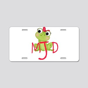 Adorable frog, and initials Aluminum License Plate