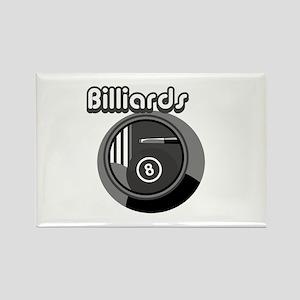 Black and White Pool Blliards Logo Rectangle Magne