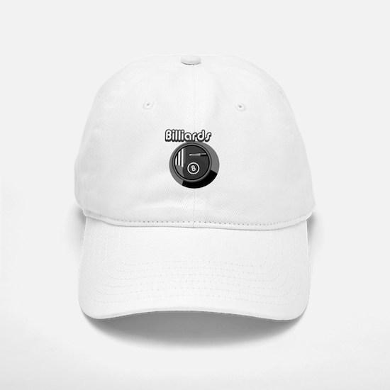Black and White Pool Blliards Logo Baseball Baseball Cap