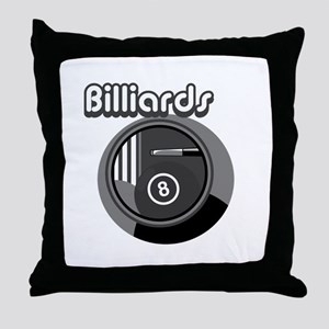 Black and White Pool Blliards Logo Throw Pillow