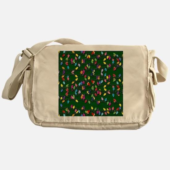 Holiday Lights on Green! Messenger Bag