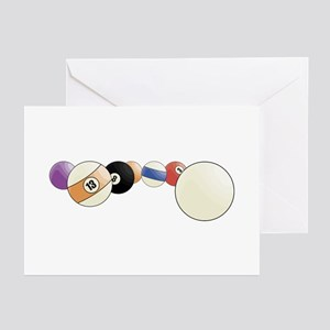 Pool and Billiards Cue Balls Greeting Cards (Packa