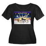 XSunrise Women's Plus Size Scoop Neck Dark T-Shirt