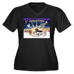 XSunrise-5Do Women's Plus Size V-Neck Dark T-Shirt