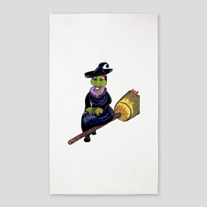 Madame Glam Witch on a Broomstick 3'x5' Area Rug