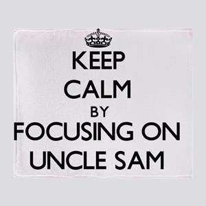 Keep Calm by focusing on Uncle Sam Throw Blanket