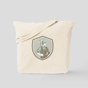 Organic Farmer Rake Shield Woodcut Retro Tote Bag