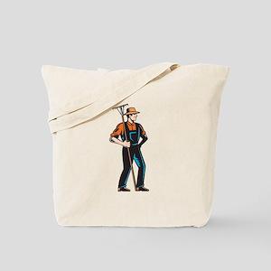 Organic Farmer Standing Rake Woodcut Tote Bag
