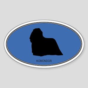 Komondor (oval-blue) Oval Sticker