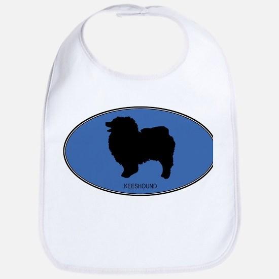 Keeshound (oval-blue) Bib