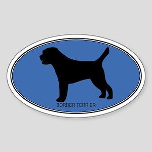 Border Terrier (oval-blue) Oval Sticker