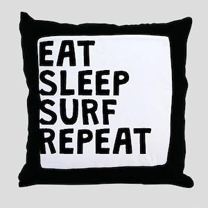 Eat Sleep Surf Repeat Throw Pillow