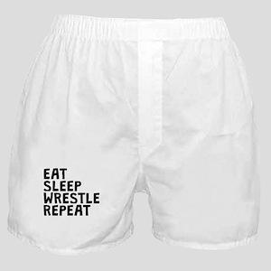 Eat Sleep Wrestle Repeat Boxer Shorts