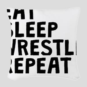 Eat Sleep Wrestle Repeat Woven Throw Pillow