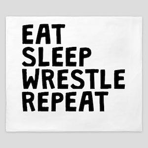 Eat Sleep Wrestle Repeat King Duvet