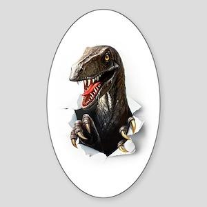 Velociraptor Dinosaur Sticker (Oval)