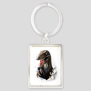 Velociraptor Dinosaur Portrait Keychain